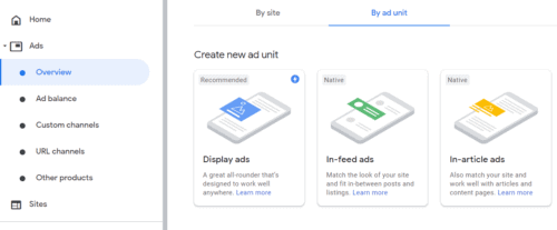 An overview of the ads you can create in AdSense