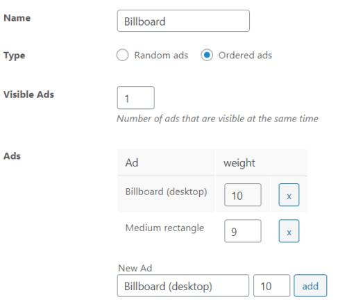 A group inside of Advanced Ads