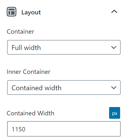 The layout settings of a GenerateBlocks container