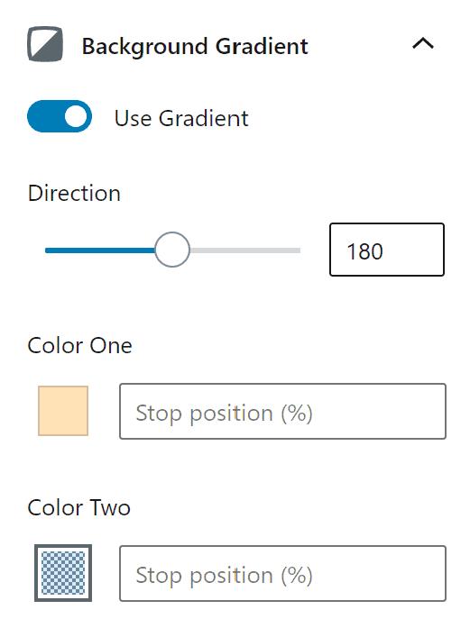 The gradient settings of a GenerateBlocks container