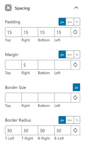 The spacing of a Generateblocks buttons block