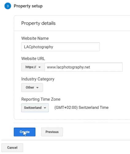 Setting up the property in Google Analytics
