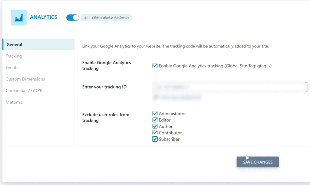 Entering the Google Analytics tracking code in SEOPress
