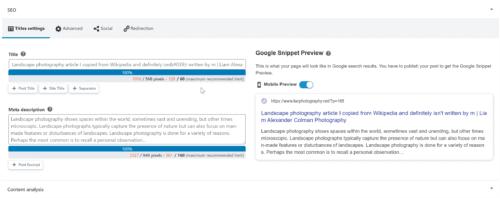 Title and meta description settings in SEOPress