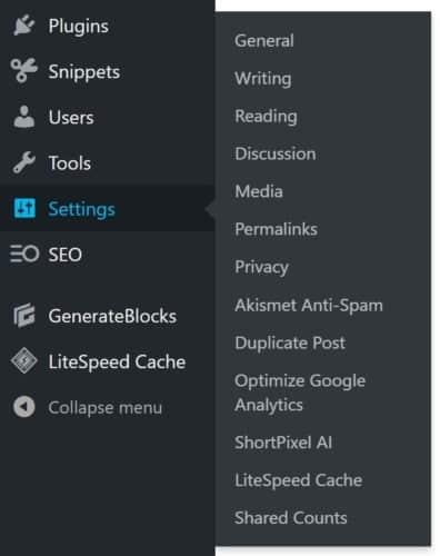 Shared counts settings hidden away in the WordPress menu