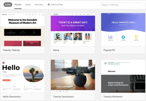 Endless WordPress themes for a photography website