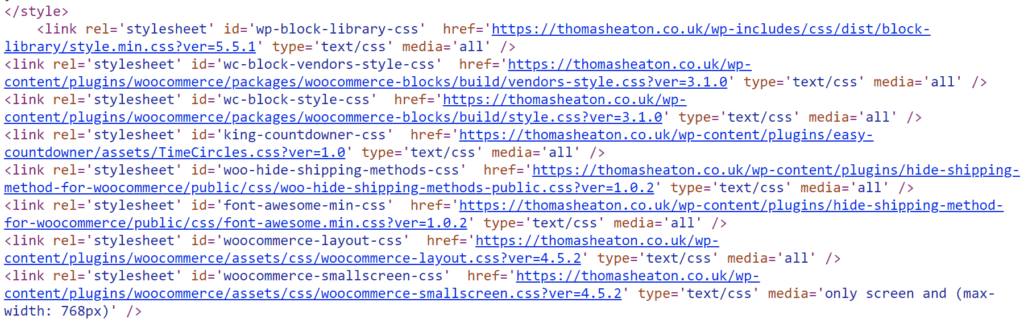 The page source showing that Thomas Heaton uses WordPress and not Squarespace
